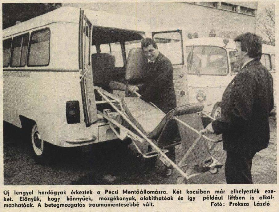1987.új-lengyel-hordágyak-érkeztek-a-pécsi-mentőállomásra